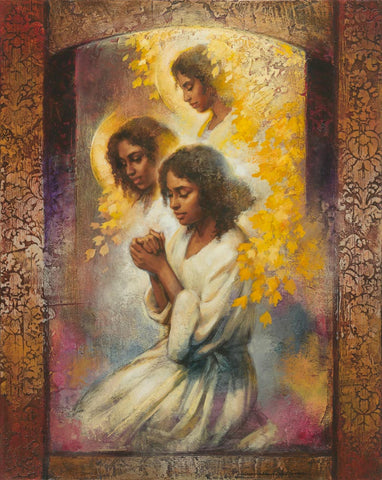 Three black women and angels in prayer.