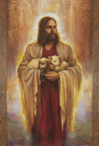 Jesus standing holding two lambs.