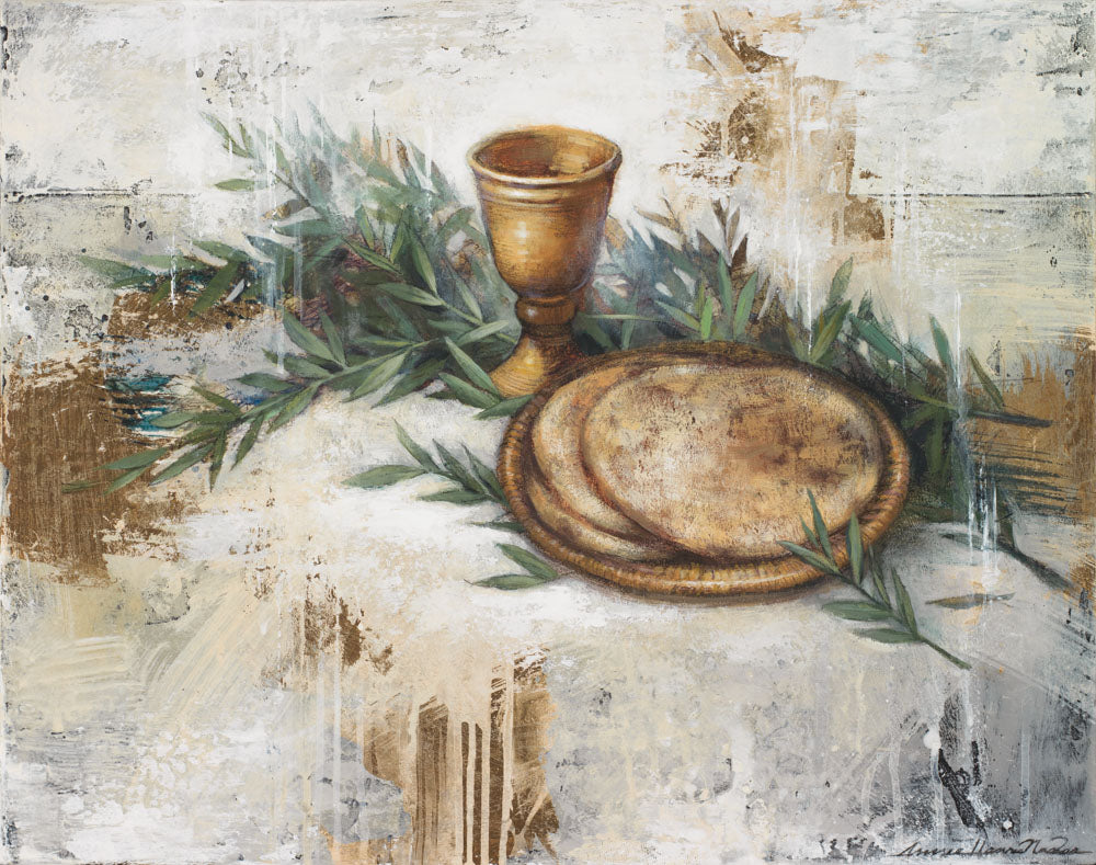 A symbolic painting of bread representing Christs body, a cup representing His blood, and olive branches representing the Atonement.