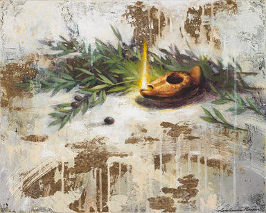 A symbolic painting of an oil lamp representing Jesus as the light of the world, and olive branches representing His Atonement.