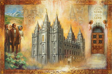Brigham Young looking at the Salt Lake Temple. Temple doors.