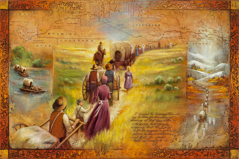 Pioneers traveling west with map in the background.