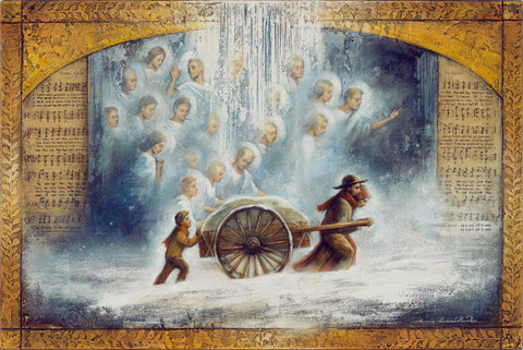 Pioneers push handcart in the snow with the help of angels.