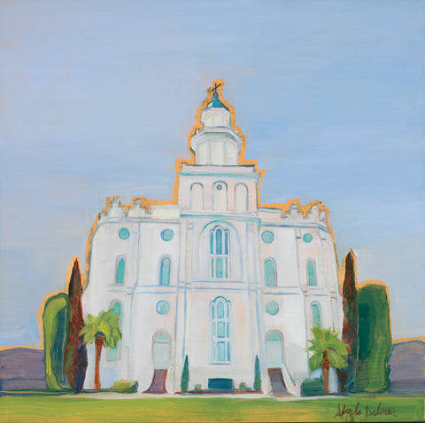 Painting looking up at the St. George Utah Temple with blue skies.