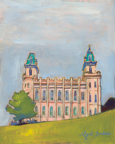 Painting of the side view of the Manti Utah Temple with blue skies.