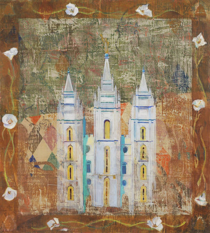 Painting of the Salt Lake Utah Temple with a white flower border.