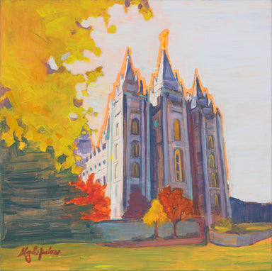 Painting of the Salt Lake Utah Temple in the fall.