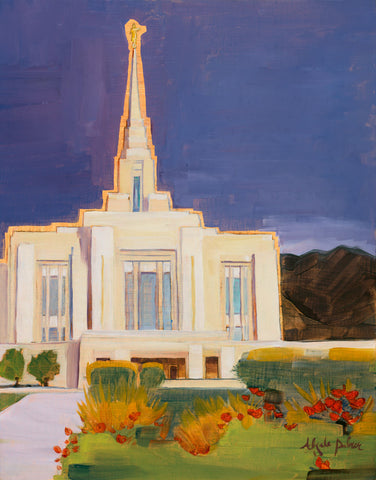 Painting of the Ogden Utah Temple with a blue sky.