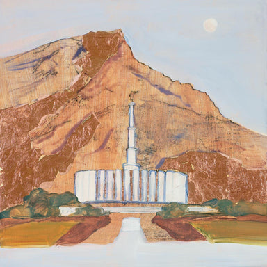 Painting of the Provo Utah Temple against brown mountains.