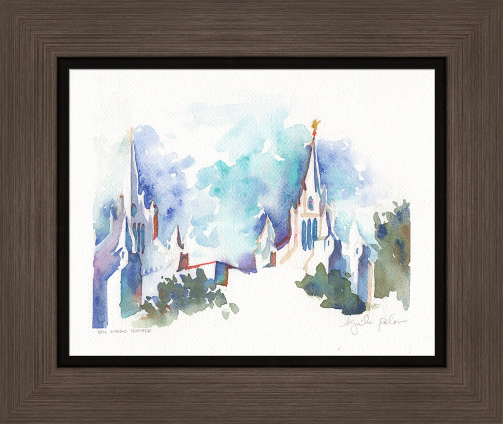 San Diego California Temple - Watercolor by Abigale Palmer