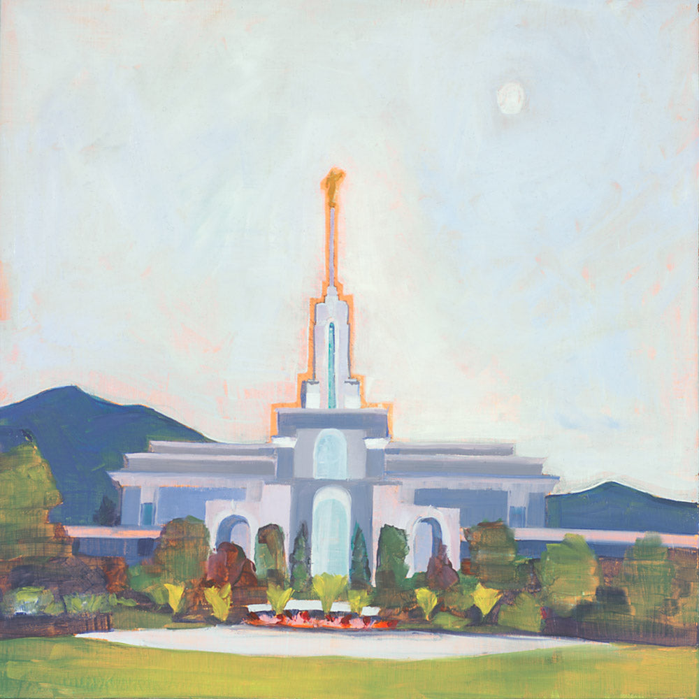 Painting of the Mount Timpanogos Temple with blue skies.