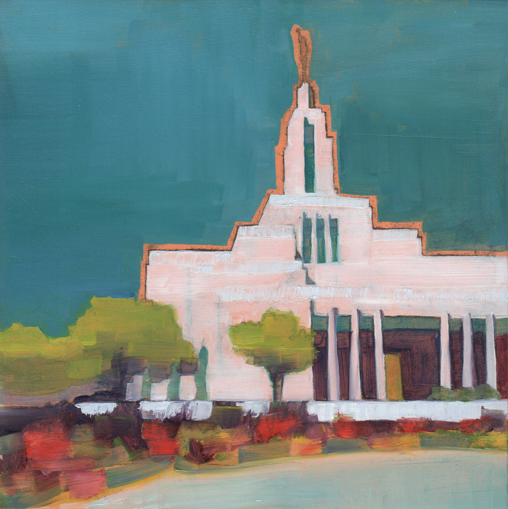 Painting of the Draper Utah Temple with dark blue sky.