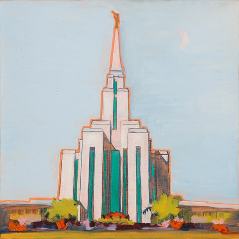 Painting of the Oquirrh Mountain Temple with light blue sky.