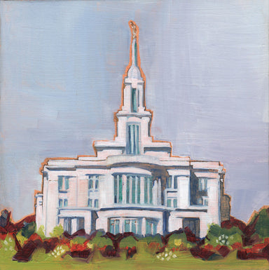 Painting of the Payson Utah Temple with blue skies.