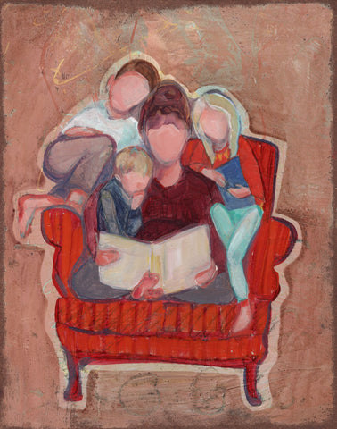 Faceless figures of a mother and children reading in a big chair.