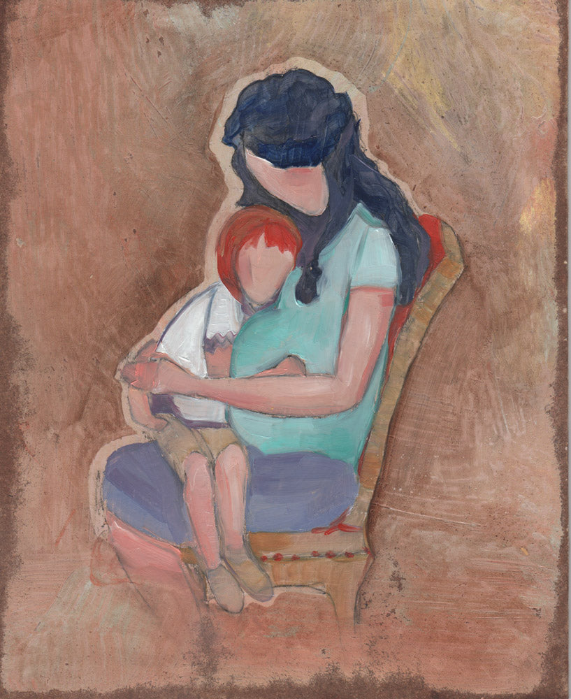Faceless figures of a child sitting on the lap of her pregnant mother.