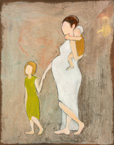 Faceless figures of a child guiding her pregnant mother dressed in white.