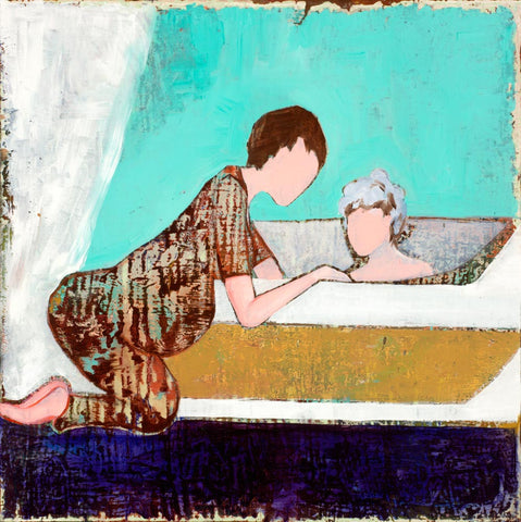 Faceless figures of a mother washing her child in a bathtub.