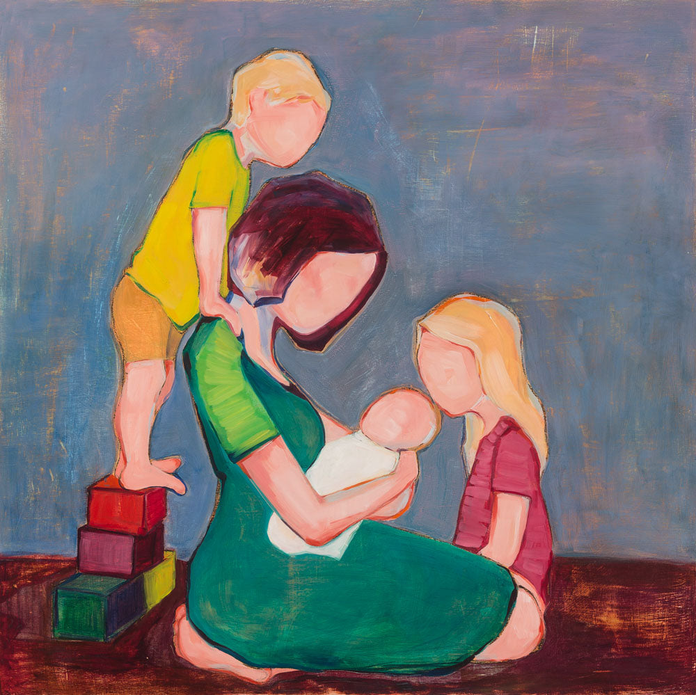 Faceless figures of a mother and her children looking at a baby.