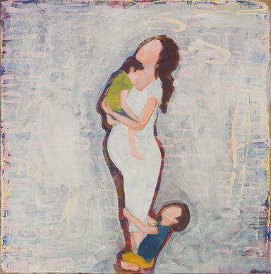 Faceless figures of a pregnant mother in white dress with child on her feet.