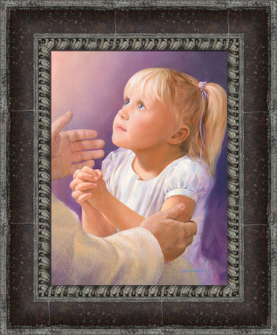 A Child's Prayer 18x22 framed strata design gray frame by Jay Bryant Ward