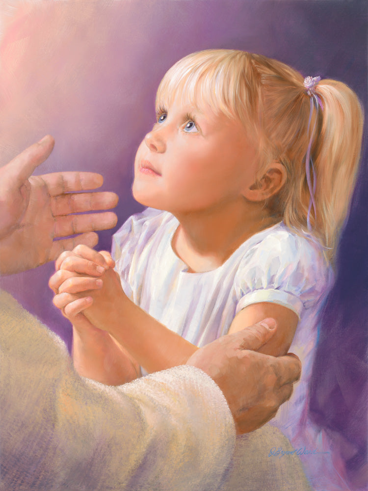 A girl in prayer with Jesus reaching out his hands to comfort her