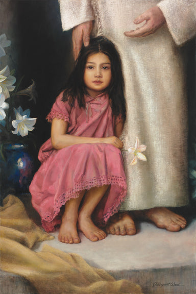 A girl sitting at Jesus' feet holding a flower.