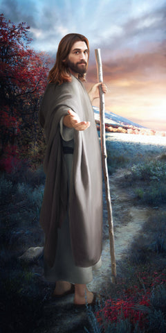 Jesus walking on path turned around reaching with one hand.
