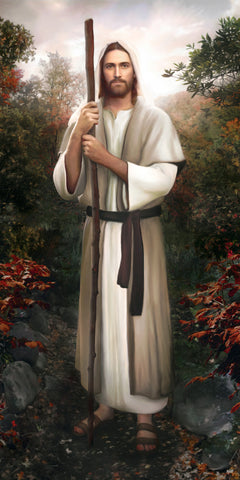 Jesus holding staff standing in a garden of trees and flowers.