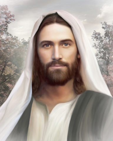 Portrait of Jesus Christ wearing a white shawl on head with trees in the background.