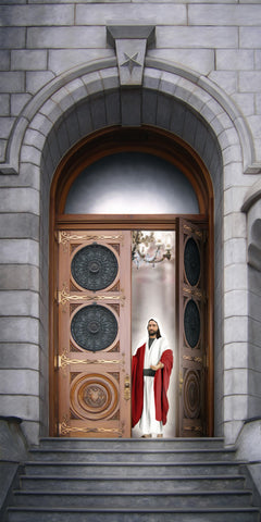 Jesus standing in the doorway of the Salt Lake temple.