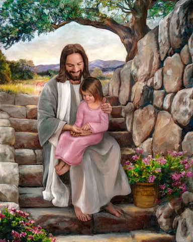 Jesus sitting on steps with little girl in his lap.