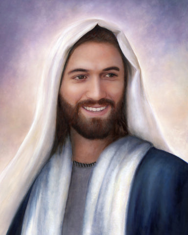 Portrait of Jesus christ smiling.