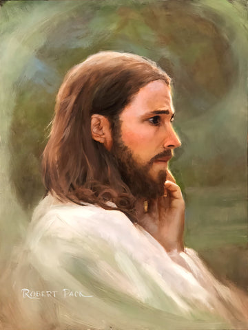 Portrait of Jesus with his hand to his cheek.