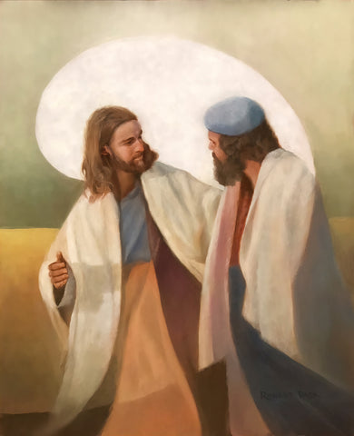Jesus walking with and talking to a man.