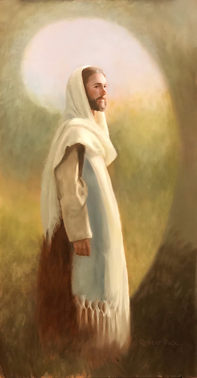 Portrait of Jesus standing with white shawl on head.
