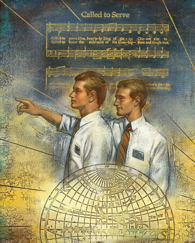 Two missionaries pointing with the song Called to Serve in the background.