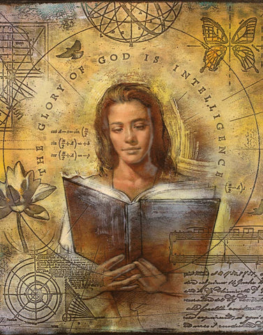 A women reading a book surrounded by symbols of intelligence.
