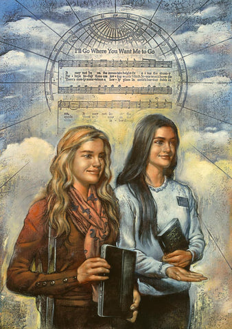 Two sister missionaries holding book of mormons with song in the background.