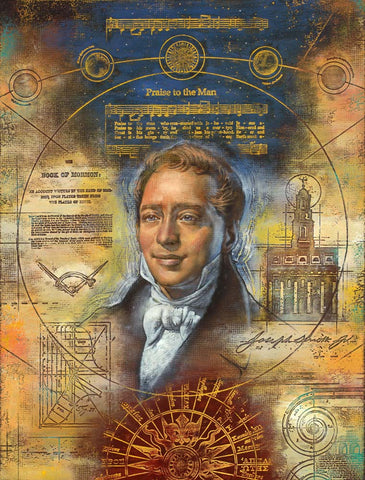 Portrait of Joseph Smith surrounded by symbols of his life.