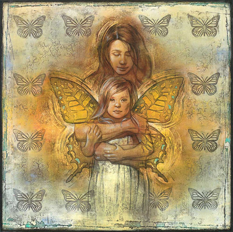 An angel wrapping her arms around a young girl giving her butterfly wings.