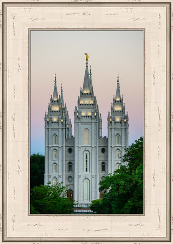 Salt Lake Temple - Morning by Scott Jarvie 15x20 framed strata design cream frame