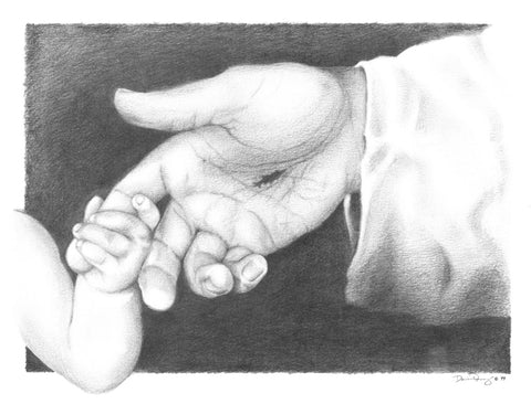 Black and white sketch of a baby hand holding Jesus's finger.