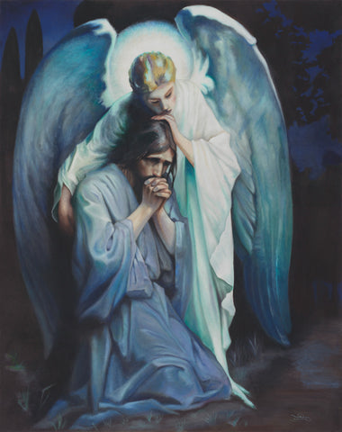 An angel with wings comforting Jesus in the garden of Gethsemane.