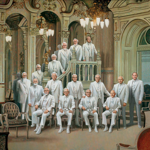 All the prophets from Joseph Smith to Thomas S Monson dressed in white.