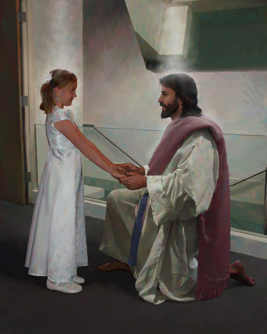 Girl dressed in white in front of a baptismal font with Jesus holding her hands.