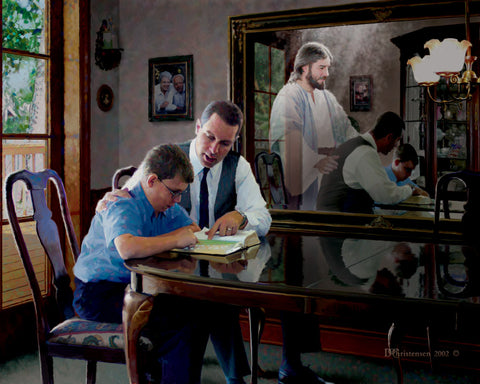 A Father and son studying the scriptures with Jesus in the reflection of the mirror.