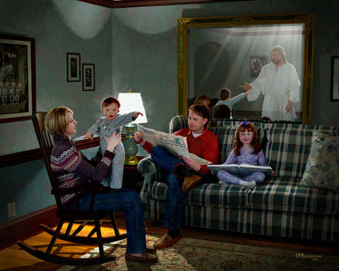 Family sitting in living room, down syndrome boy looking at Jesus in mirror.