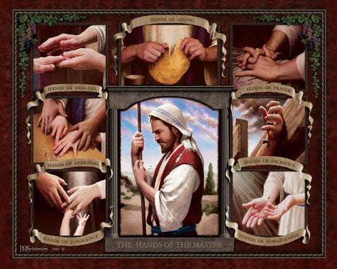 A Collage of Jesus hands breaking bread, performing miracles and on the cross.