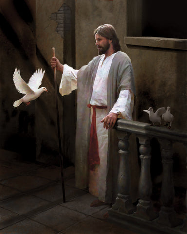 Jesus Christ standing with a staff next to a flying white dove.